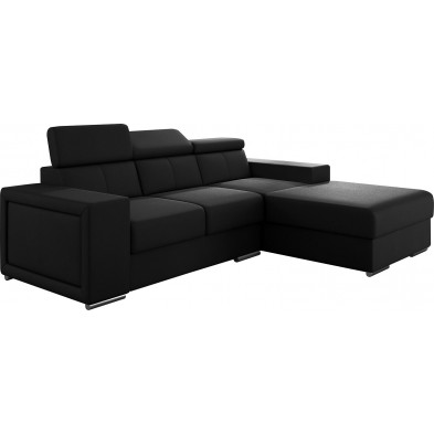 Canapés d'angle noir moderne en pvc 3 places L. 255-180 x P. 94-96 x H. 67-100 cm collection SANDRA