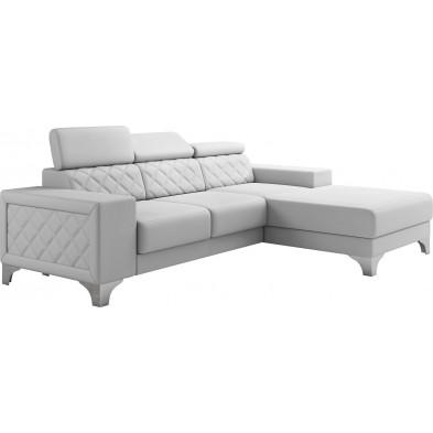 Canapés d'angle blanc moderne en pvc 3 places L. 255-180 x P. 94-96 x H. 82-102 cm collection LUGANO