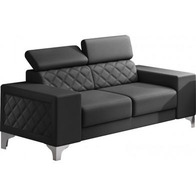 Canapés fixes noir moderne en pvc 2 places L. 194 x P. 96 x H. 67-100 cm collection LUGANO