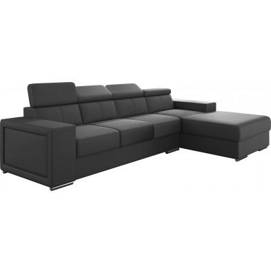 Canapé d'angle moderne 4 places en pvc coloris gris avec méridienne angle droit  L. 319-180 x P. 96-85 x H. 82-102 cm collection SANDRA