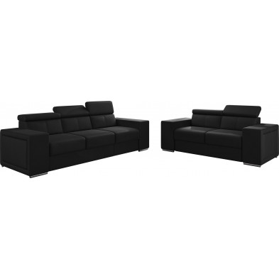 Ensemble canapés noir moderne en pvc 5 places L. 253 - 190 x P. 96 x H. 67-100 cm collection SANDRA