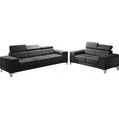 Ensemble canapés noir moderne en pvc 5 places L. 259 - 194 x P. 94 x H. 67-100 cm collection LUGANO
