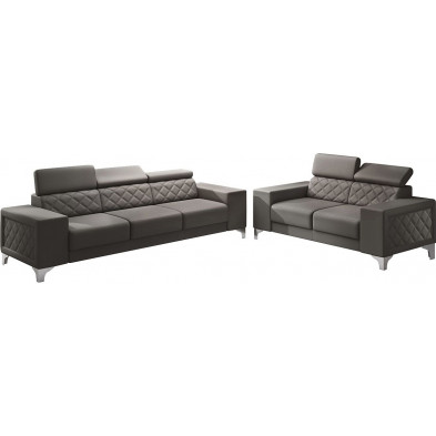 Ensemble canapés marron moderne en pvc 5 places L. 259 - 194 x P. 94 x H. 67-100 cm collection LUGANO