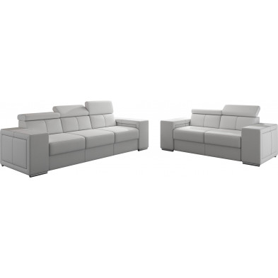 Ensemble canapés blanc moderne en pvc canapé fixe polyester 5 places L. 253 - 190 x P. 96 x H. 67-100 cm collection SANDRA