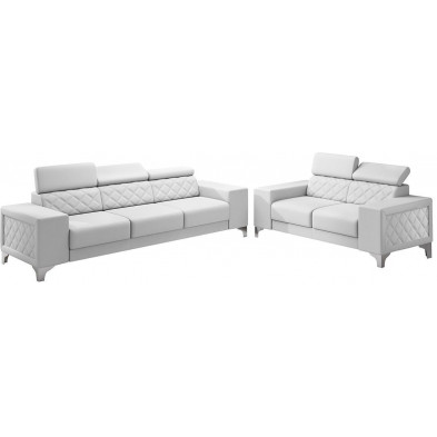 Ensemble canapés blanc moderne en pvc  5 places L. 259 - 194 x P. 94 x H. 67-100 cm collection LUGANO