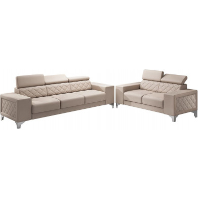 Ensemble canapés beige moderne en pvc 5 places L. 259 - 194 x P. 94 x H. 67-100 cm collection LUGANO