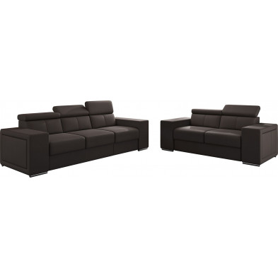 Ensemble canapés marron moderne en pvc 5 places L. 253 - 190 x P. 96 x H. 67-100 cm collection SANDRA