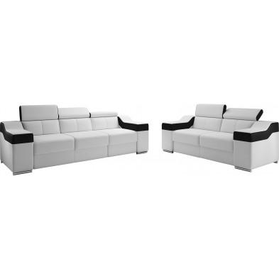 Ensemble canapés blanc design en pvc 5 places L. 255-190 x P. 95-96 x H. 82-102 cm collection MIAMI