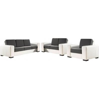 Ensemble canapés blanc contemporain en acier 6 places L. 230-170-105 x P. 93 x H. 84 cm collection ROTTERDAM