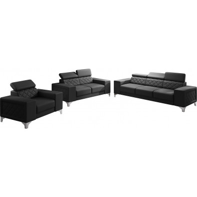 Ensemble canapés noir moderne en pvc 6 places L. 259 - 194 -129 x P. 94 x H. 67-100 cm collection LUGANO
