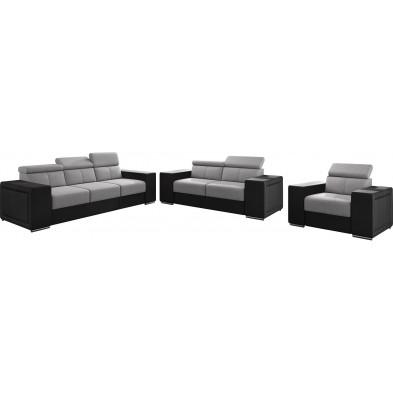 Ensemble canapés gris moderne en acier canapé fixe polyester 6 places L. 253 - 190 - 127 x P. 96 x H. 67-100 cm collection SANDRA