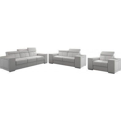 Ensemble canapés blanc moderne en pvc 6 places L. 253 - 190 -127 x P. 96 x H. 67-100 cm collection SANDRA