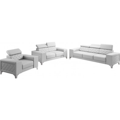 Ensemble canapés blanc moderne en pvc 6 places L. 259 - 194 -129 x P. 94 x H. 67-100 cm collection LUGANO