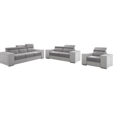 Ensemble canapés blanc moderne en acier 6 places L. 253 - 190 - 127 x P. 96 x H. 67-100 cm collection SANDRA