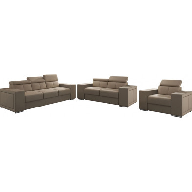 Ensemble canapés beige moderne en pvc 6 places L. 253 - 190 -127 x P. 96 x H. 67-100 cm collection SANDRA