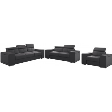 Ensemble canapés gris moderne en pvc 6 places L. 253 - 190 -127 x P. 96 x H. 67-100 cm collection SANDRA