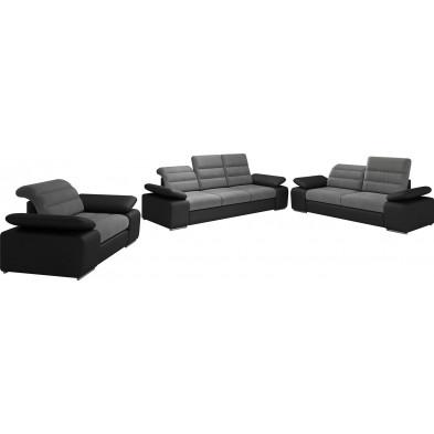 Ensemble canapés gris design en acier 6 places L. 242-204-134 x P. 95 x H. 86-100 cm collection BERGAMO