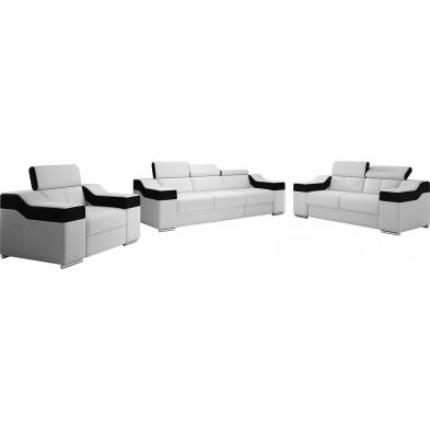 Ensemble canapés blanc design en pvc 6 places . 255-125-190 x P. 95-96 x H. 82-102 cm collection MIAMI