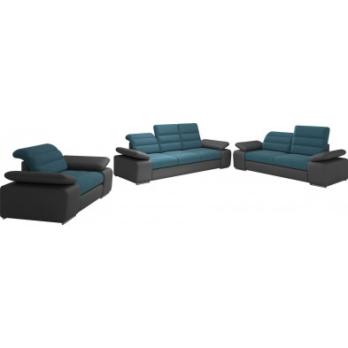 Ensemble canapés bleu design en acier 6 places L. 242-204-134 x P. 95 x H. 86-100 cm collection BERGAMO