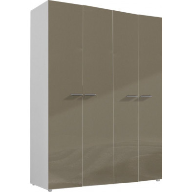 Armoire adulte beige design L. 159 x P. 53 x H. 214 cm collection Abigael