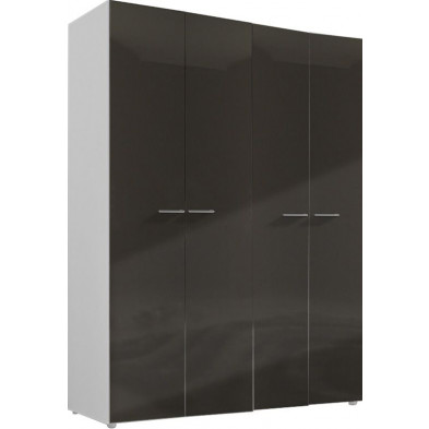 Armoire adulte gris design L. 159 x P. 53 x H. 214 cm collection Regillio