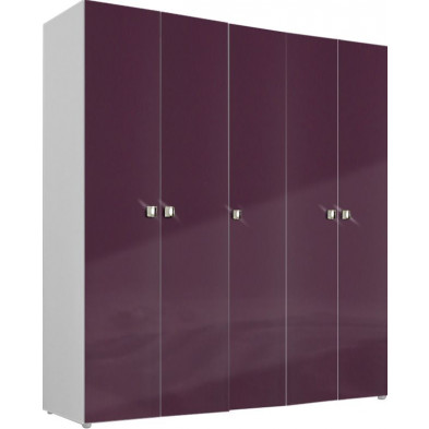 Armoire adulte violet design L. 158 x P. 53 x H. 214 cm collection Ocie