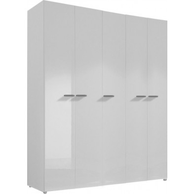 Armoire adulte blanc design L. 158 x P. 53 x H. 240 cm collection Houkes