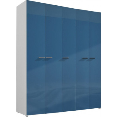 Armoire adulte bleu design L. 158 x P. 53 x H. 240 cm collection Bigley