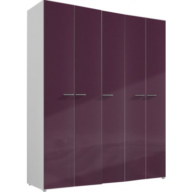 Armoire adulte violet design L. 158 x P. 53 x H. 240 cm collection Ocie