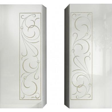 Meubles de rangement suspendus avec ornement doré design blanc en panneaux de particules de haute qualité L. 60 x P. 36 x H. 144 cm Collection Brennan