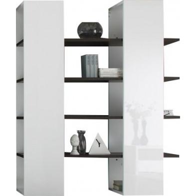 Bibliothèque blanc design en panneaux de particules mélaminés de haute qualité L. 132 x P. 36 x H. 161 cm collection Ceannabhaigh