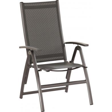 Chaise de jardin en polyester enduit perforé avec dossier réglable haut coloris carbone  L. 62 x P. 68 x H.111 cm  collection Bochum