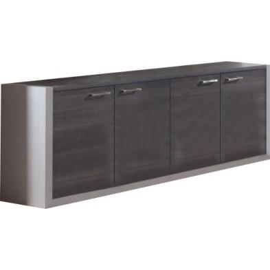 Meuble de rangement gris moderne en panneaux de particules mélaminés de haute qualité L. 199,9 x P. 45 x H. 75 cm collection Herkenbosch