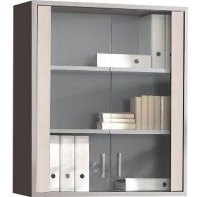 Meuble de rangement gris moderne en panneaux de particules mélaminés de haute qualité L. 90 x P. 45 x H. 110,8 cm collection Therrien