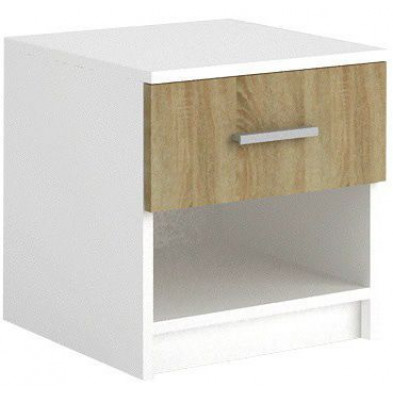 Chevet - table de nuit blanc moderne en panneaux de particules de haute qualité L. 46 x P. 40 x H. 36 cm collection Henson