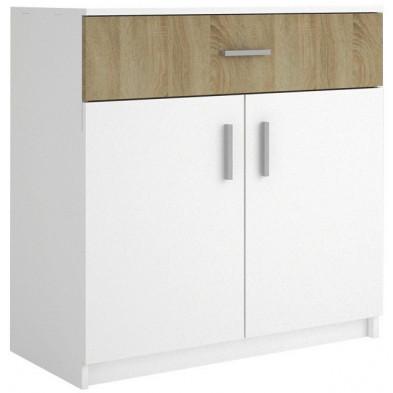 Commode - coiffeuse blanc moderne en panneaux de particules de haute qualité L. 83 x P. 42 x H. 74 cm collection Henson