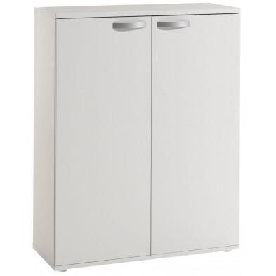 Meuble de rangement blanc contemporain en panneaux de particules mélaminés de haute qualité L. 90 x P. 42 x H. 116 cm collection Pinhais