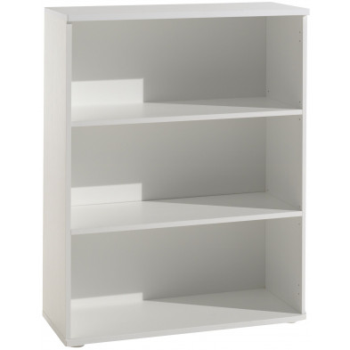 Meuble étagère blanc contemporain en panneaux de particules mélaminés de haute qualité   L. 90 x P. 42 x H. 116 cm collection Pinhais