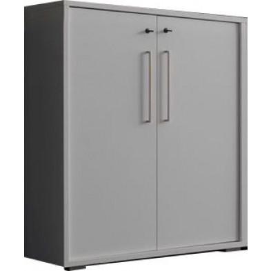 Meuble de rangement blanc design en panneaux de particules mélaminés de haute qualité L. 90 x P. 42 x H. 111 cm collection Inscribe