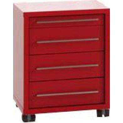 Caisson bureau rouge design en panneaux de particules mélaminés de haute qualité L. 44,7 x P. 58 x H. 56,5 cm collection Ryo