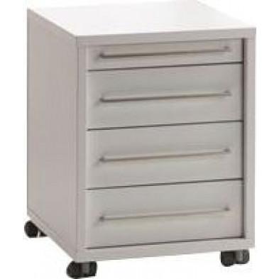 Caisson bureau blanc design en panneaux de particules mélaminés de haute qualité L. 44,7 x P. 58 x H. 56,5 cm collection Ryo