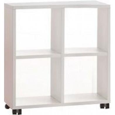 Meuble étagère blanc design en panneaux de particules mélaminés de haute qualité L. 78 x P. 35 x H. 83,2 cm collection Inscribe