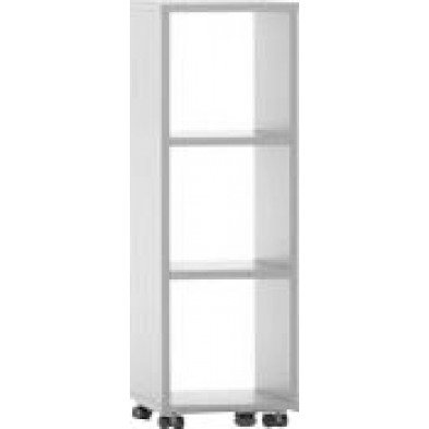 Meuble étagère blanc design en panneaux de particules mélaminés de haute qualité L. 40 x P. 35 x H. 120,2 cm collection Inscribe