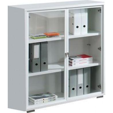 Meuble de rangement blanc design en panneaux de particules mélaminés de haute qualité L. 90 x P. 42 x H. 110 cm collection Ryo