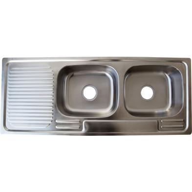 Évier cuisine à encastrer 2 bacs 120x48 cm en acier inoxydable brossé forme rectangulaire collection Elizabethton