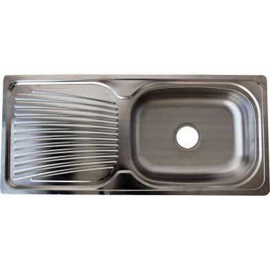 Evier cuisine à encastrer 1 bac 96X43 cm en acier inoxydable brossé forme rectangulaire collection Elizabethton