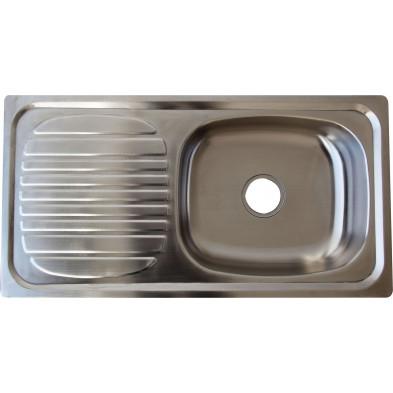 Évier cuisine à encastrer 1 bac 88X46 cm en acier inoxydable brossé forme rectangulaire Elizabethton collection