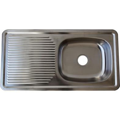 Évier cuisine à encastrer 1 bac 94X49 cm en acier inoxydable brossé forme rectangulaire collection Elizabethton