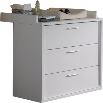 Commode et table à langer blanc moderne en panneaux de particules mélaminés de haute qualité L. 50-75 x P. 92 x H. 87-95 cm collection Gans