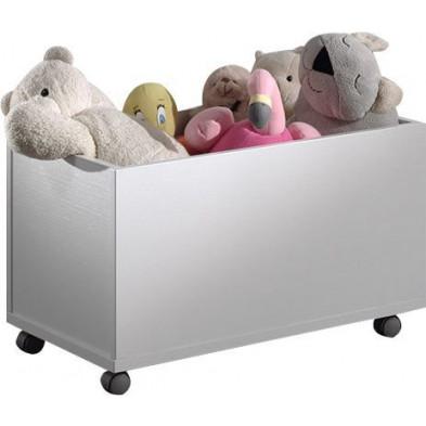 Coffre à jouets blanc moderne en panneaux de particules mélaminés de haute qualité   L. 68 x P. 40 x H. 40 cm collection Gans